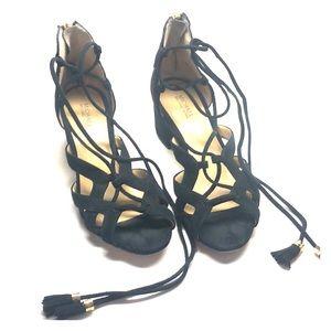 MICHAEL BY MICHAEL KORS Low Block Heel Tie Sandals